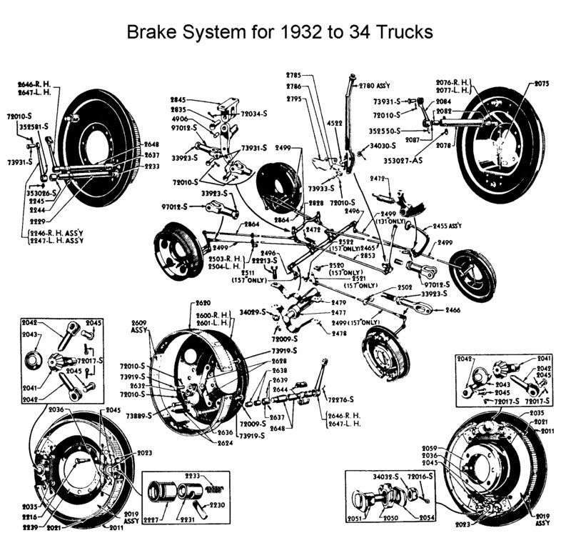 flathead parts drawings brakes 1967 Ford F100 trucks 1932 to 34