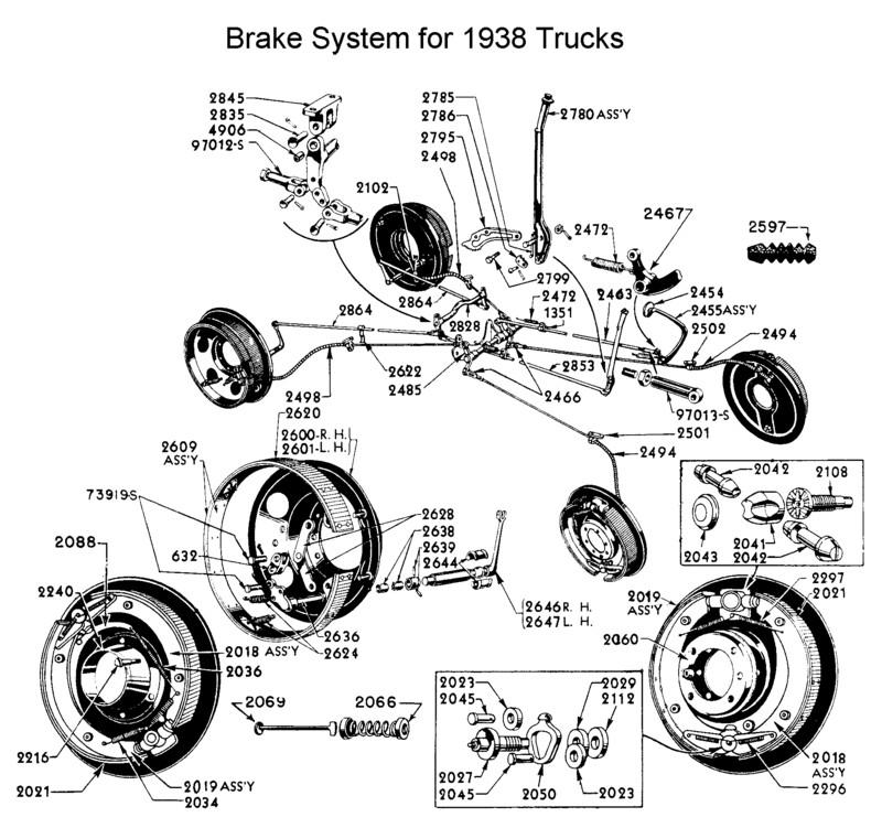 flathead parts drawings brakes 1945 Ford F100 trucks 1939
