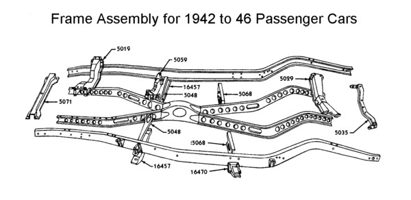 Flathead parts drawings suspensions frame assy typical for 1942 to 46 car malvernweather