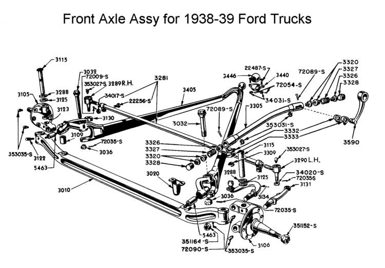 1940 ford front axle dimensions