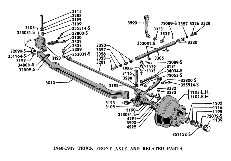 1952 ford front axle diagram