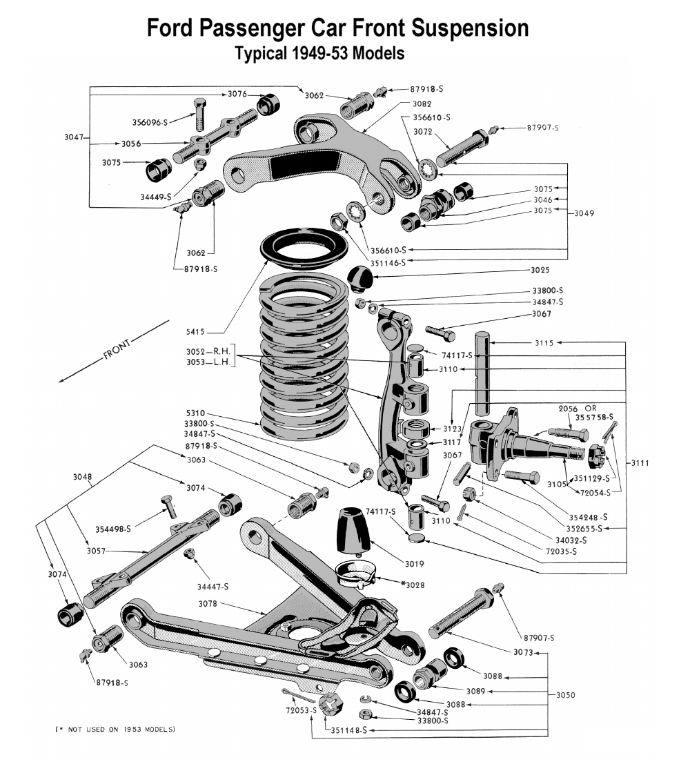 Flathead parts drawings suspensions front suspension for 1949 to 53 ford passenger pooptronica Images
