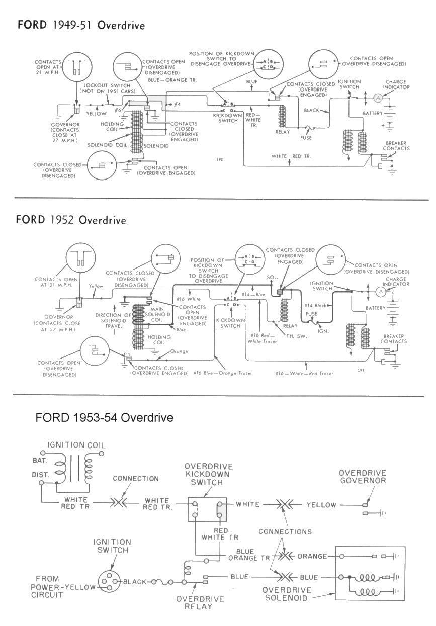 Wiring for 1949-54 Ford Car Overdrive. Starters & Generators