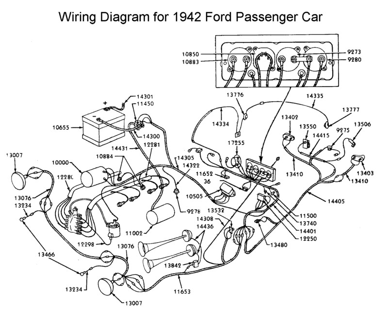 Flathead_Electrical_wirediagram1942car flathead electrical wiring diagrams 1953 Ford Car Wiring Diagram at crackthecode.co
