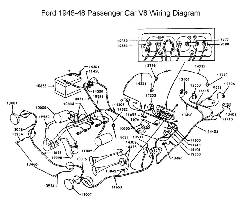 Flathead_Electrical_wirediagram1946 48car flathead electrical wiring diagrams 1953 Ford Car Wiring Diagram at crackthecode.co