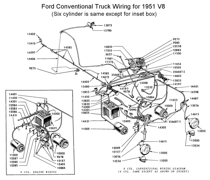 Flathead_Electrical_wirediagram1951truck flathead electrical wiring diagrams,1951 Desoto Headlight Wiring Diagram
