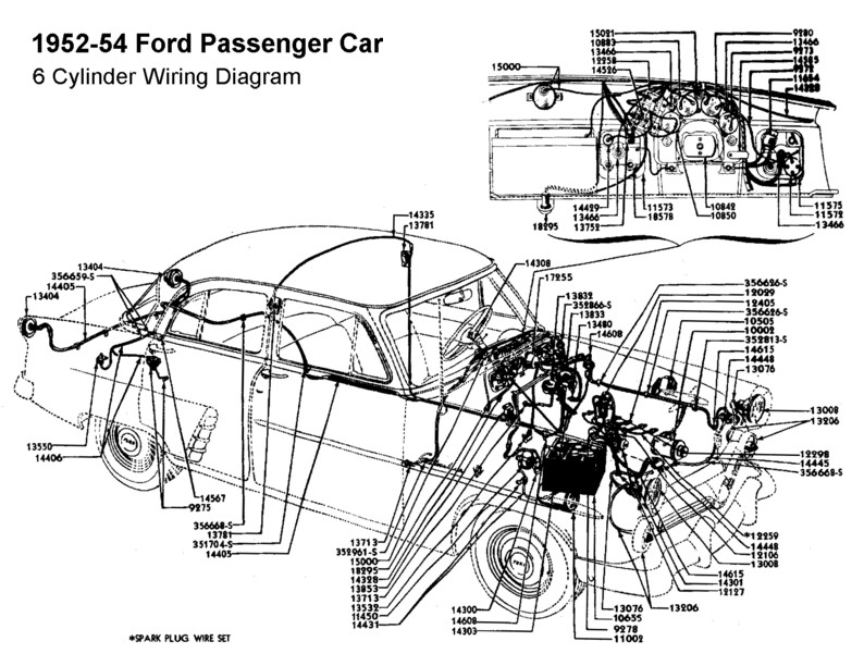 flathead electrical wiring diagrams wiring diagram for 1952 54 ford 6