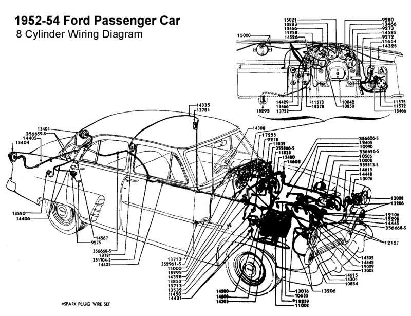 Flathead_Electrical_wirediagram1952 54car 8cyl flathead electrical wiring diagrams 1954 ford wiring harness at fashall.co