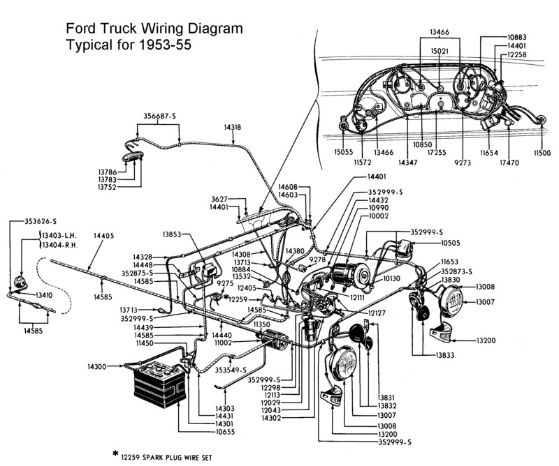 Flathead_Electrical_wirediagram1953 55truck flathead electrical wiring diagrams Ford Mirror Wiring Harness at n-0.co