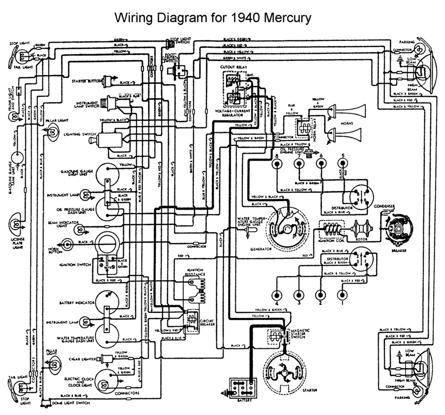 flathead electrical wiring diagrams 1953 Hudson Coupe wiring for 1940 mercury