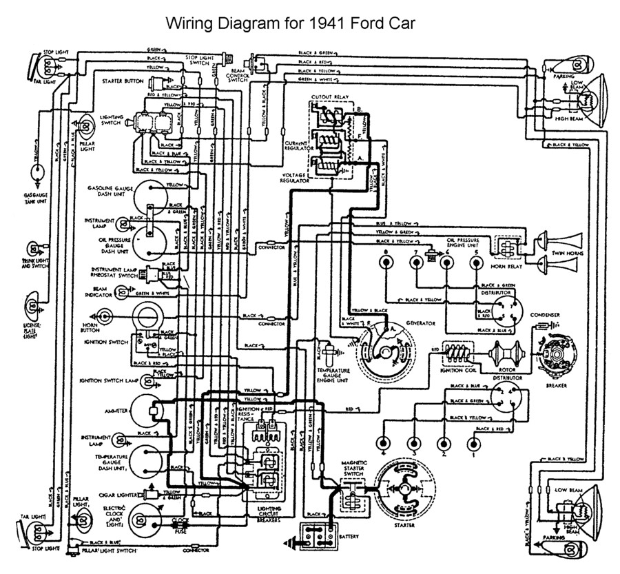 flathead electrical wiring diagrams 1939 Ford Interior wiring for 1941 ford car