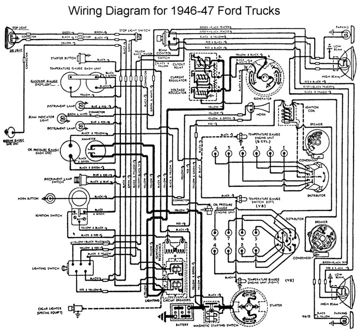 Flathead_Electrical_wiring1946 47truck flathead electrical wiring diagrams 1946 ford truck wiring diagram at gsmx.co
