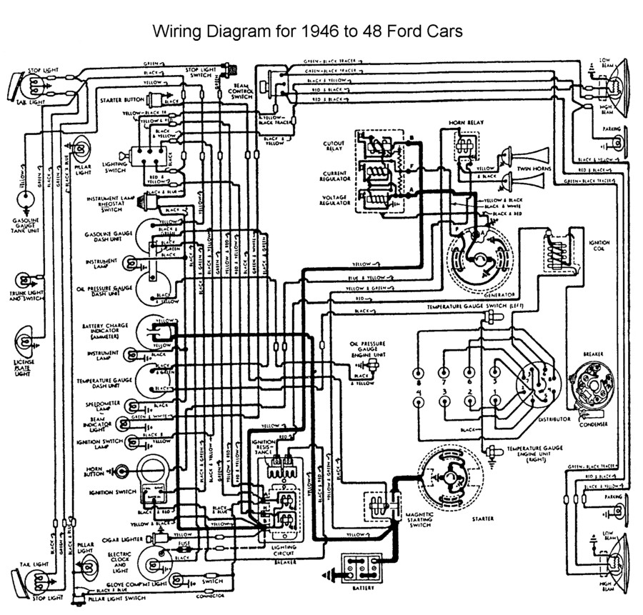 flathead electrical wiring diagramswiring for 1946 to 48 ford car
