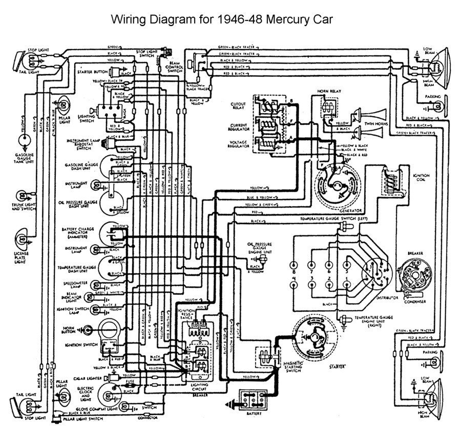 flathead electrical wiring diagrams wiring for 1946 to 48 mercury