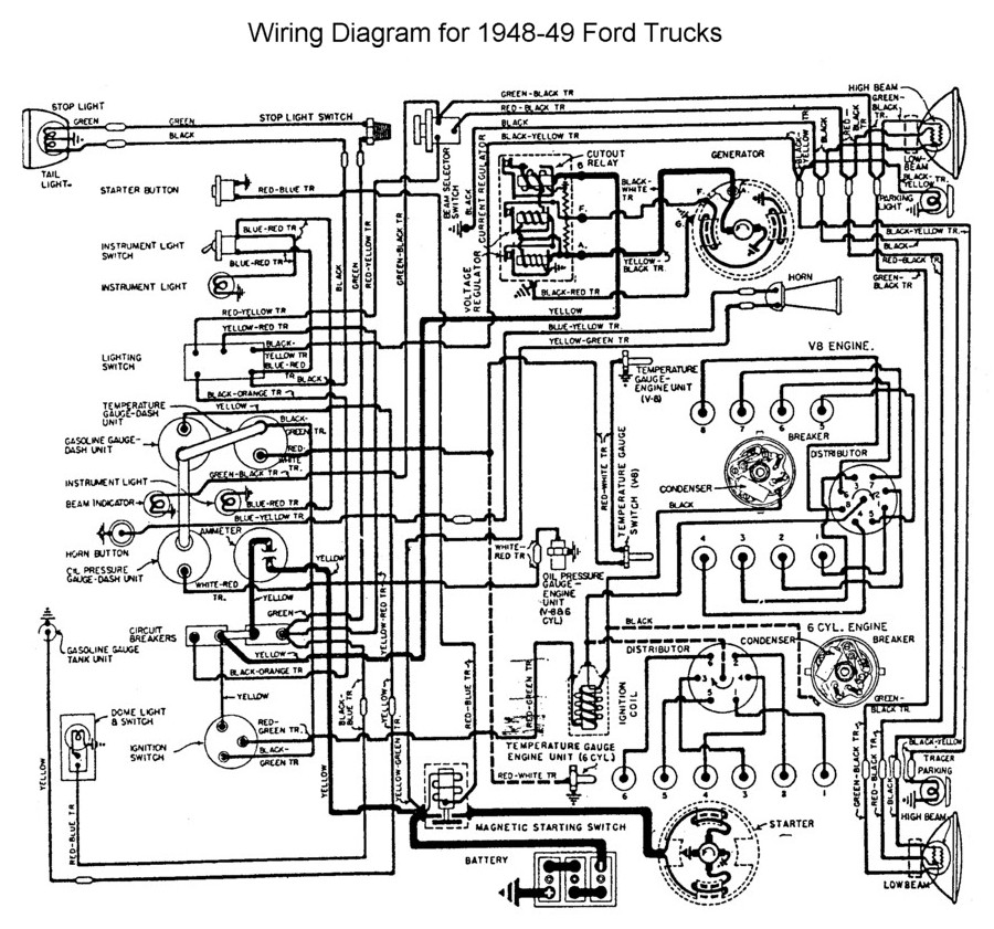 flathead electrical wiring diagrams 1949 cadillac wiring for 1948 to 49 ford trucks