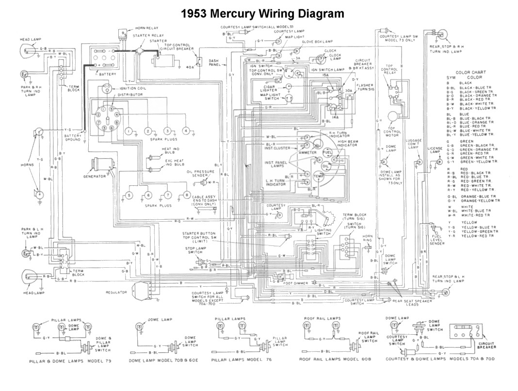 Flathead Electrical Wiring Diagrams Automotive Accessory Diagram For 1953 Mercury Car