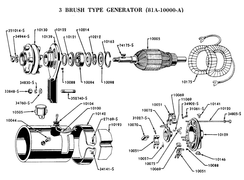 Flathead_Genrtr_3brush_1938to39 flathead electrical wiring diagrams model a ford generator wiring diagram at bayanpartner.co