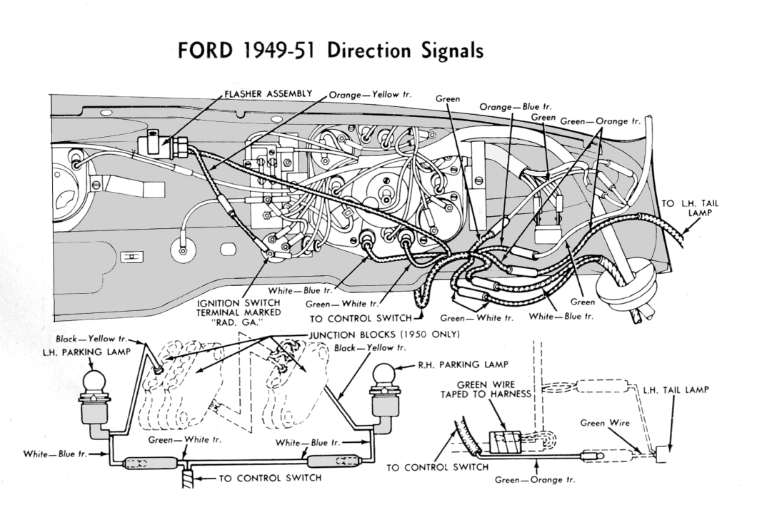 Turn Signal Wire Harness for 1949-51 Ford car. Wiring Schematics - Ford