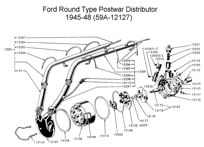 Flathead drawings electrical on 1953 ford firing order