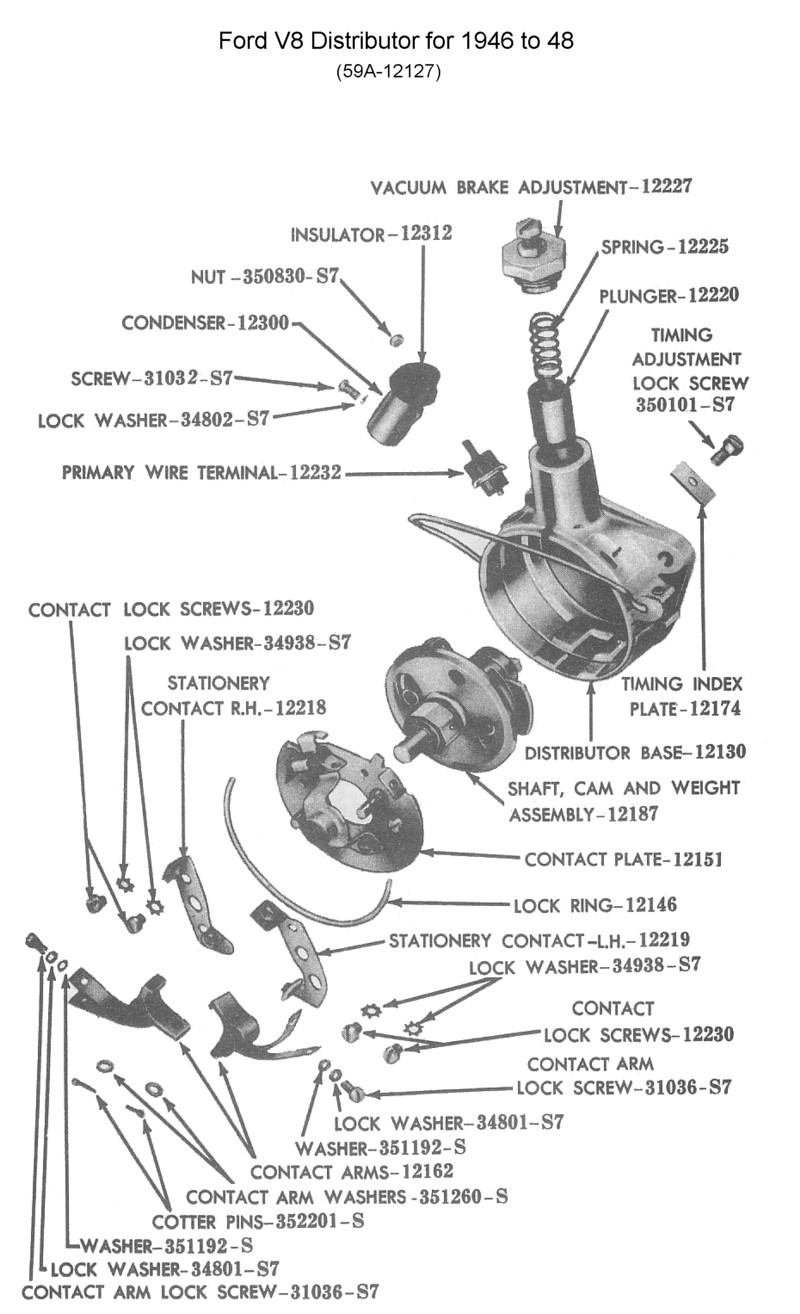 ford distributor for 1945 to 48 v8 (photo - guts)
