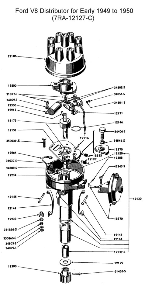 Flathead_Distributor_1949to50 flathead electrical wiring diagrams ford distributor diagram at crackthecode.co