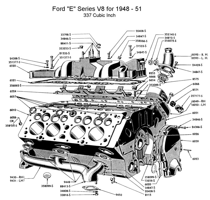 Flathead_Engine_block1948 51_Eseries flathead parts drawings engines engine block diagram at edmiracle.co