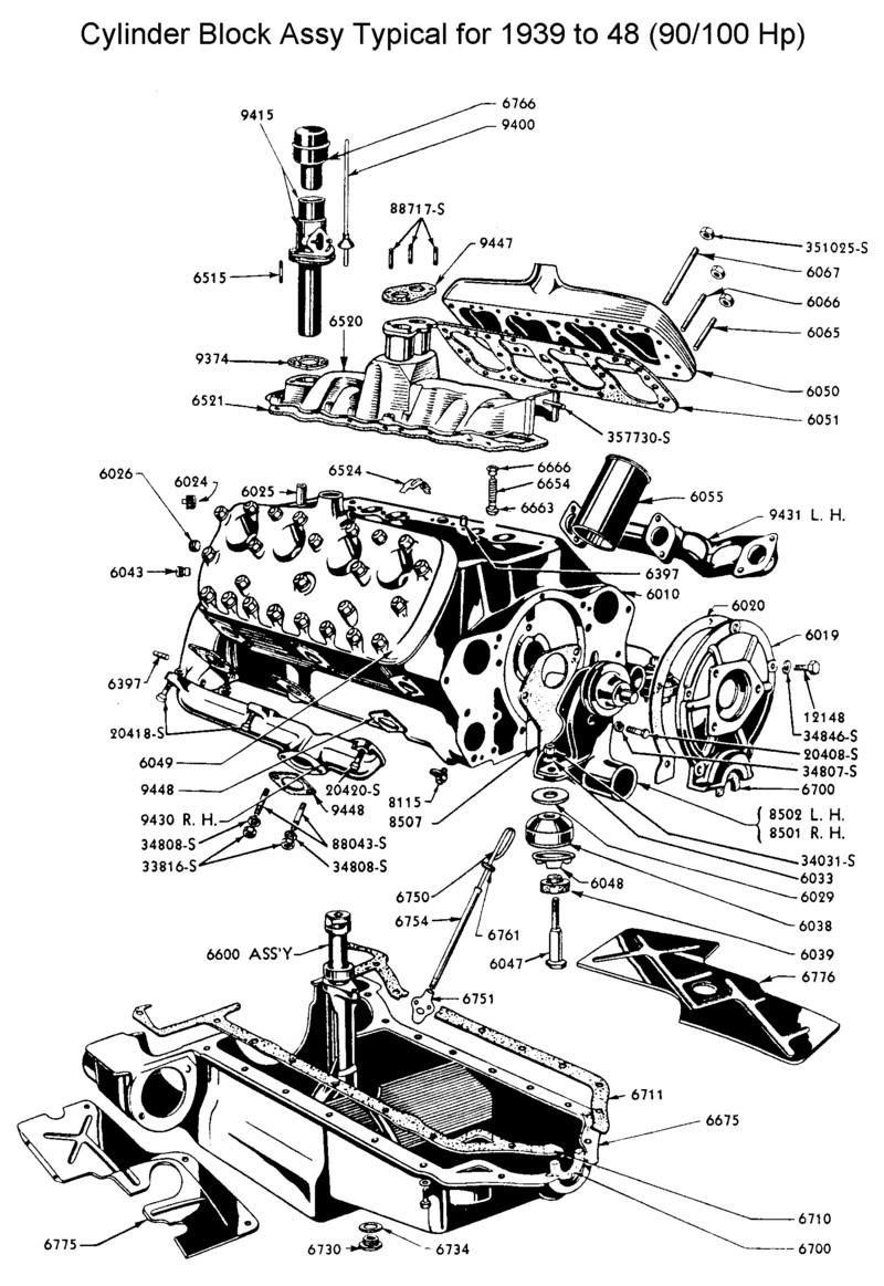 Flathead drawings engines on 1953 ford firing order
