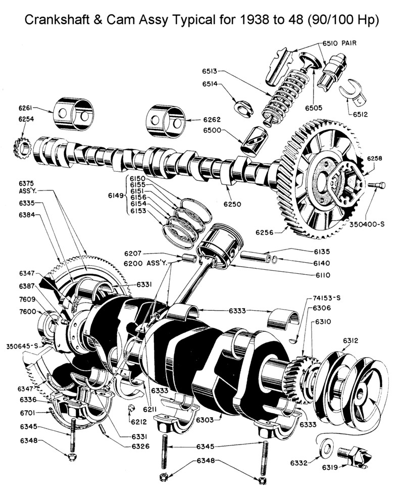 flathead parts drawings engines v8 engine cylinder diagram crankshaft & camshaft assy for 1940 to