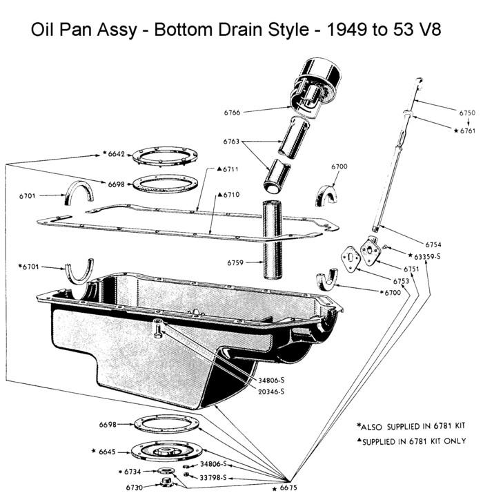 oil pan assy - bottom plug - for 1949 to