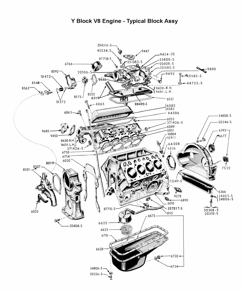 flathead parts drawings engines rh vanpeltsales com Ford Fe Ford Y-Block Parts