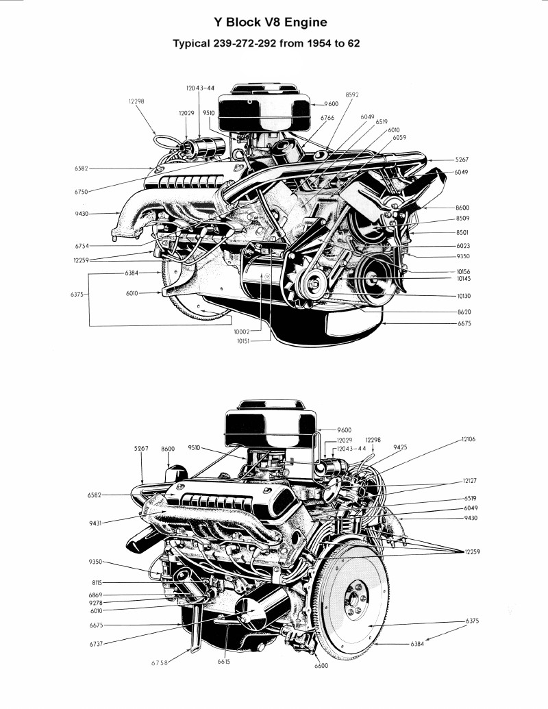 Flathead Parts Drawings Engines Engine Diagram Names Complete 239 272 292 Left Right View