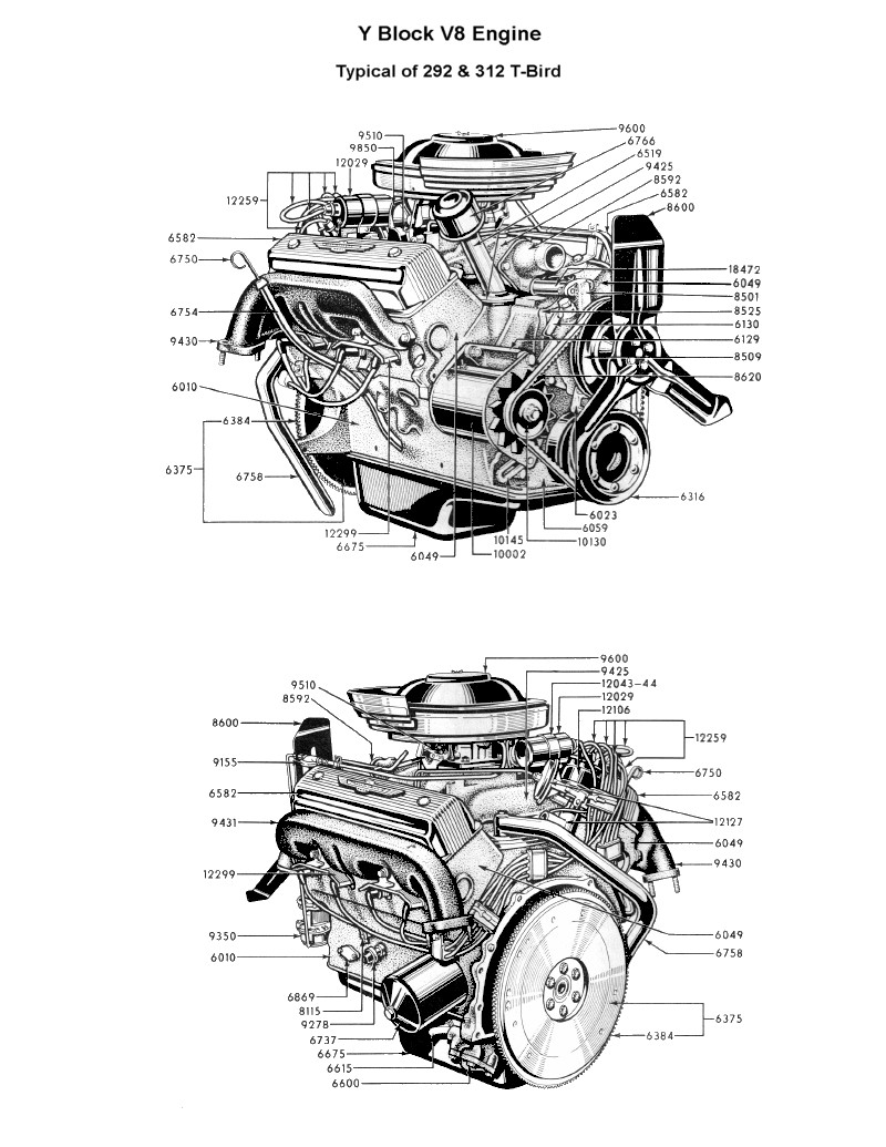Flathead drawings engines on 1953 ford parts cars