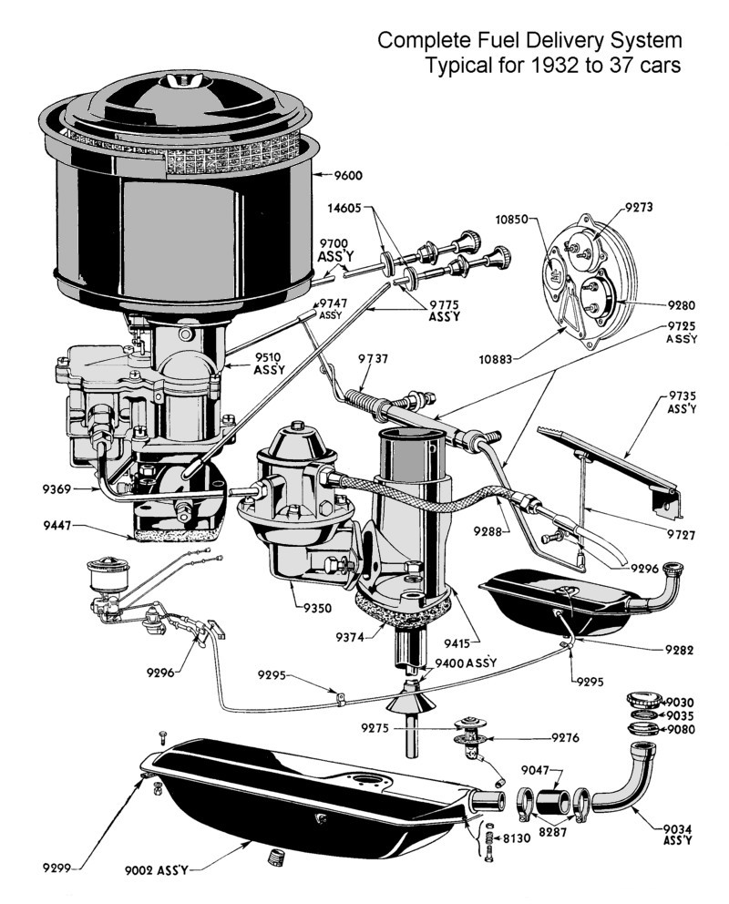 Flathead Parts Drawings Fuel System Ford Diagram For 1932 To 37 Passenger Car