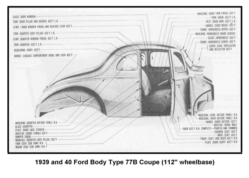 1939 40 Ford Coupe Body 77B