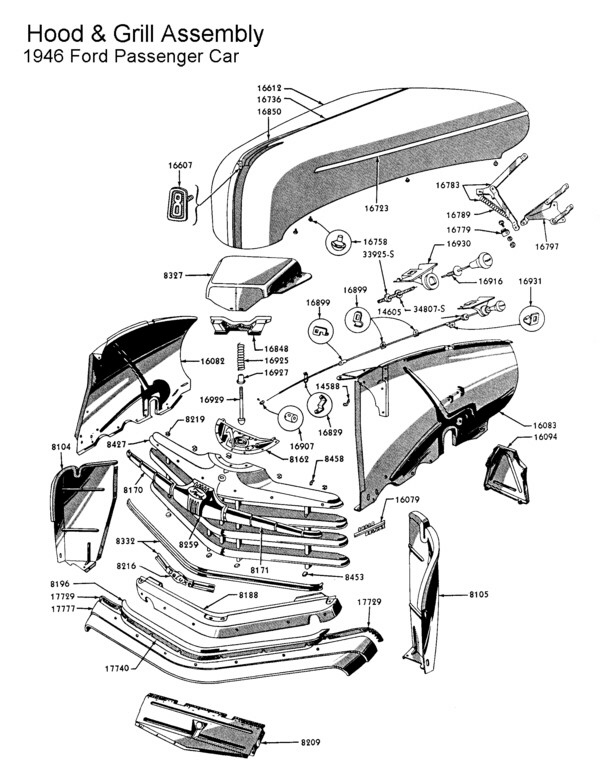 Flathead Grill Hood Ford on 1948 ford f1 hood diagram