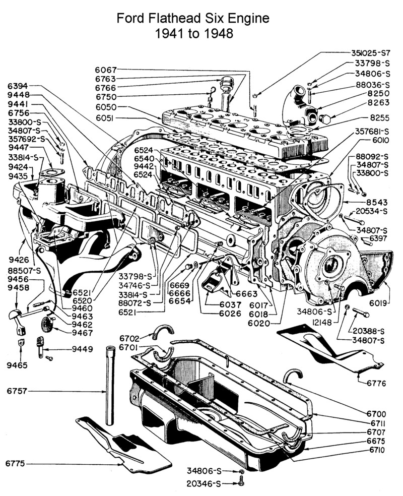 ford flathead six parts drawings for the six cylinder engine built from 1941 to 1951