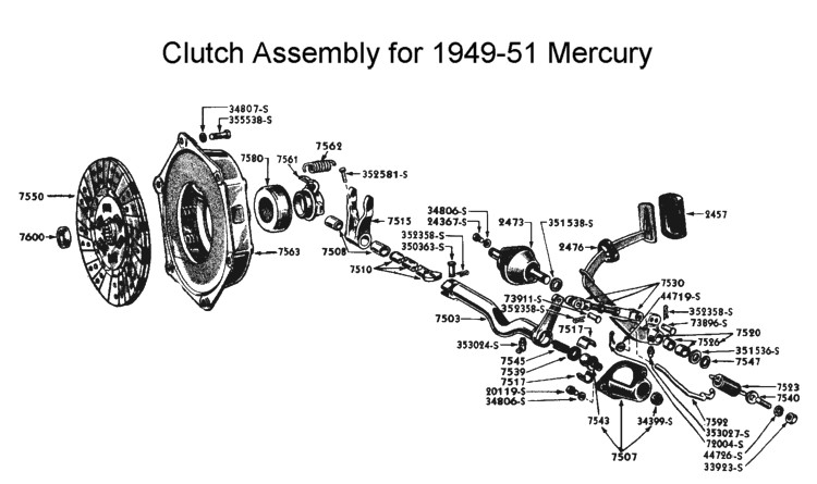 Flathead parts drawings transmissions clutch assembly for 1949 to 51 mercury ford transmissions truck sciox Choice Image