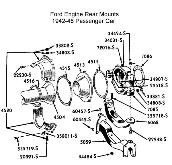 Flathead_Trans engine_rearmount_42 48car car parts car parts labeled