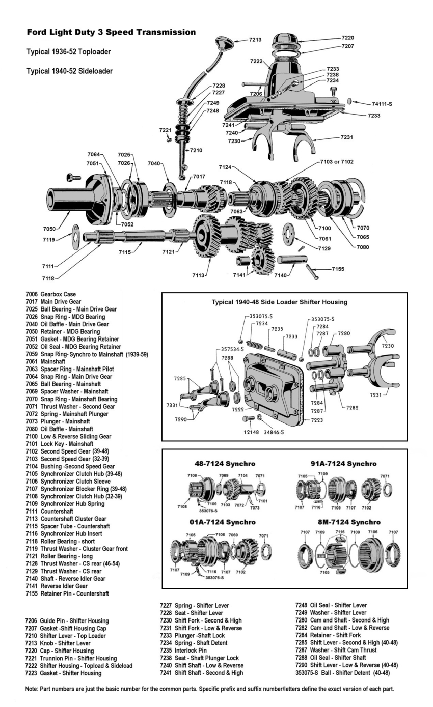Flathead Parts Drawings Transmissions Wiring Diagram Of 1937 Ford Passenger Car Three Speed Trans For To 40 60hp