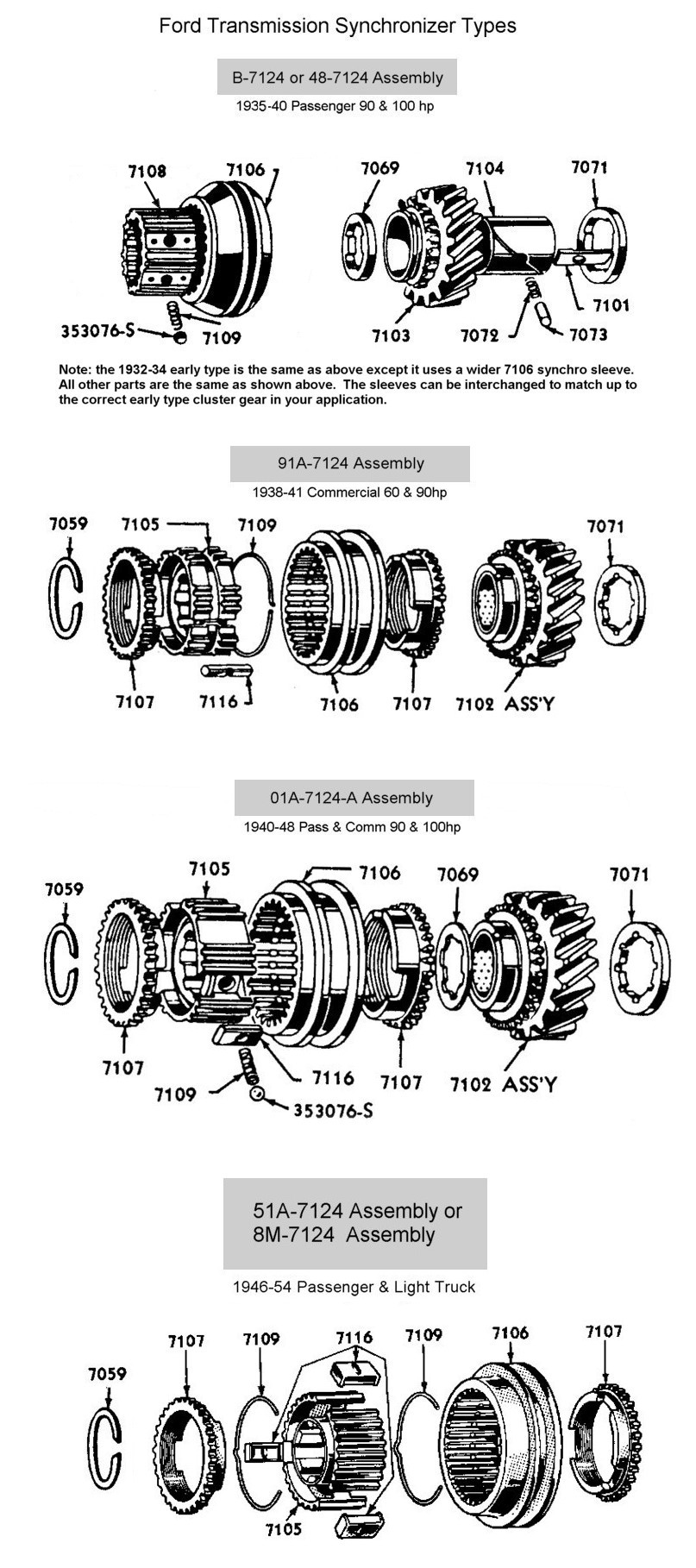 Flathead Parts Drawings Transmissions Electrical Wiring Diagram For 194247 Chevrolet Passenger Cars Rear Mount Engine Trans 1932 To 36 Car