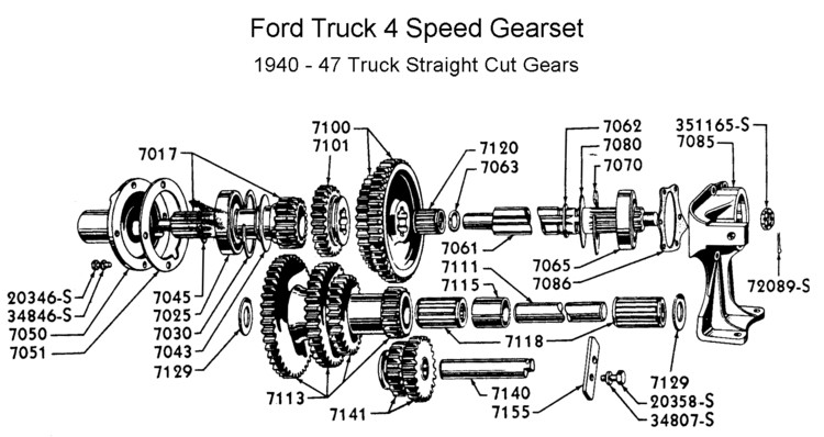 Flathead parts drawings transmissions four speed trans internals for 1940 to 47 ford transmission books sciox Choice Image