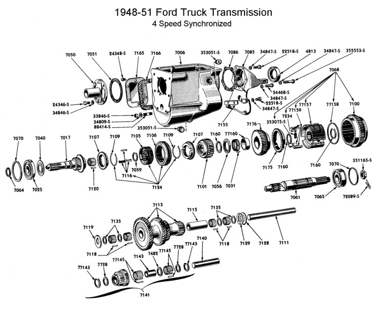 Flathead parts drawings transmissions four speed trans synchro for 1948 to 51 sciox Choice Image