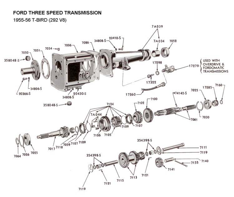 Flathead parts drawings transmissions three speed std trans for 1955 56 t bird 292 sciox Choice Image