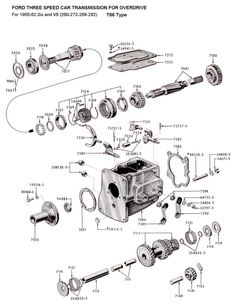 Flathead Parts Drawings Transmissions 1941 Ford F100 V8 Three Speed Od Trans T86 For 1955 62 Six And Small