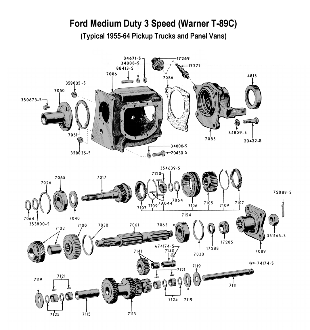 Flathead Parts Drawings Transmissions Starting Circuit Diagram For The 1955 Mercury All Models Three Speed Trans Medium Duty T 89 To 64