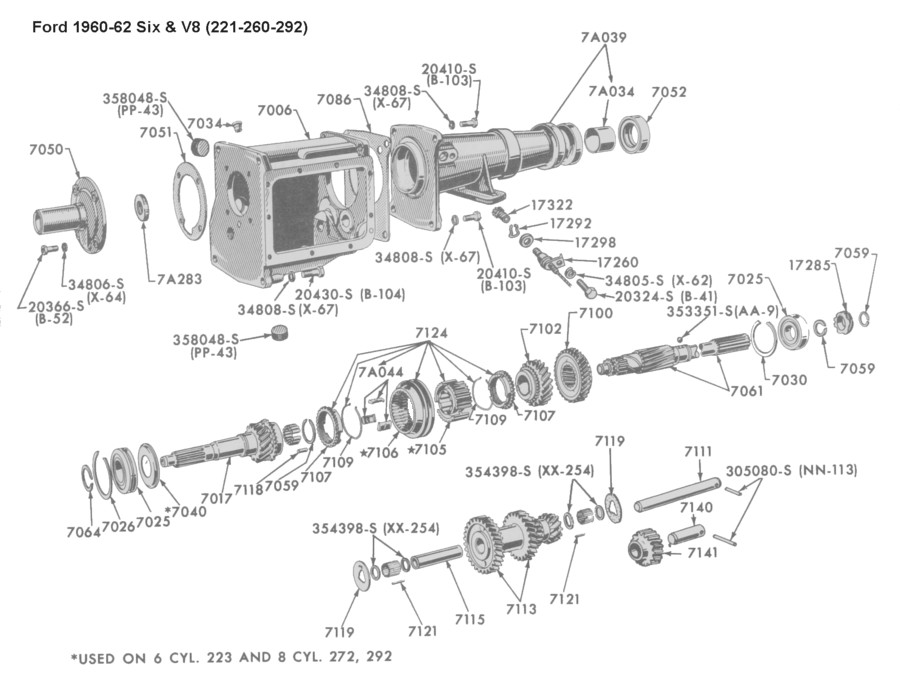 Flathead_Trans_1960 62_FordSix V8 221 292 flathead parts drawings transmissions gearbox diagram at aneh.co